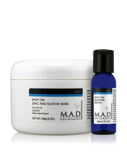 M.A.D Acne Spot on Zinc and Sulfur Mask Maska dla skór tłustych 240g + Booster Serum 30ml