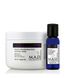M.A.D Anti-Aging Youth Transformation Glycolic Mask Maska z kwasem glikolowym 240g + Booster Serum 30ml